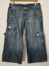 7 For All Mankind Jeans Juniors size 27 / 3 Cargo Capris Cotton Med Wash USA