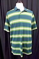Nike Golf Mens Polo Shirt Large Green Striped Short Sleeve S/S Dri-Fit Active