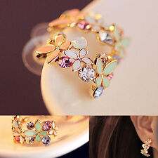 Elegant Lady Colorful Rhinestone Flower Ear Stud Earrings Fashion Jewelry Gift