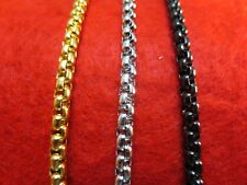 "16""-60"" 4MM STAINLESS STEEL GOLD, SILVER, BLACK SMOOTH BOX ROPE CHAIN NECKLACE"