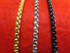 """16""""-60"""" 4MM STAINLESS STEEL GOLD, SILVER, BLACK SMOOTH BOX ROPE CHAIN NECKLACE"""