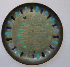 Vintage Miguel Pineda Mid-Century Modern Enamel on Copper Leaf Plate