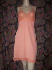 Vintage Deena Orange Lacy Silky Nylon Tricot Mini Slip Nighty Lingerie 38