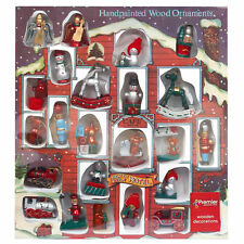 Box of 22 Mini Wooden Christmas Tree Hanging Decoration Ornaments