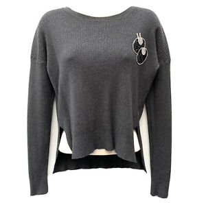 Y2K Style Crop Jumper Sweater Pullover Ribbed Knit Wool Cashmere Top UK 10/12