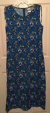 Womens DISNEY STORE Blue Sleeveless MICKEY & MINNIE Mouse Hawaiian Print Dress M