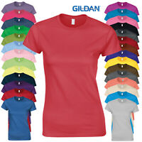 Gildan Womens Softstyle Short Sleeve Crew Neck Cotton T-Shirt Ladies Fit Top New
