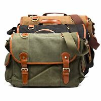 Mens Vintage Canvas Messenger Bag Military Satchel Laptop Tablet Notebook School