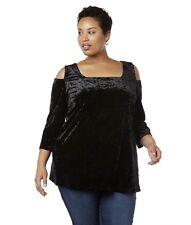 d0dee4b932d368 Women's 3X Elegant Black Crushed Velvet Cold Shoulder Top Blouse Bust 60  Len 30