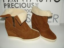 Buffalo edel Stiefeletten echtes Wildleder Wedges Boots Keilabsatz 41 Cognac NEU