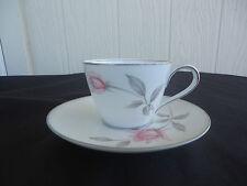 noritake bone china  rosemarie cup and saucer  pink and grey rose