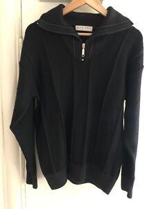 """Aklanda Wool Jumper: Size Medium 42"""" Half-zip Collar - Black - Made in Australia"""