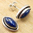 "925 Silver Overlay Navy Blue Lapis Lazuli NEW Earrings 0.5"" GIFT FOR LOVED ONES"