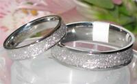 2DIE4  6MM 4MM SPARKLE WEDDING RING BAND STR186 MENS OR WOMENS  STAINLESS STEEL