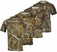 Mens Jungle Print Camouflage Army Short Sleeve T Shirt Fishing Hunt Big S-5XL