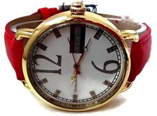 Womens Casual Watch Montres Carlo MC40143 Red F Leather Gold Case