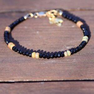 Black Spinel Welo Opal Bracelet Gold Filled , Maple Leaf Charm 14th anniversary