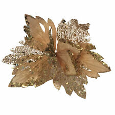 Christmas Glitter Poinsettia Decoration 30cm with Clip - Gold