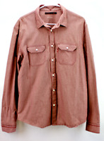 Levi Strauss Mens Large Red Stripe Shirt Signature Tab Western Yoke Button Front