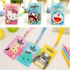 2pcs Cute Silicone Cartoon ID Card Holder Card Case Badge Necklace Neck Strap