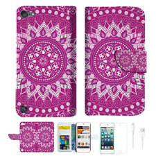 Purple AZTEC TRIBAL Wallet Case Cover For iPod Touch 5 & 6-- A003