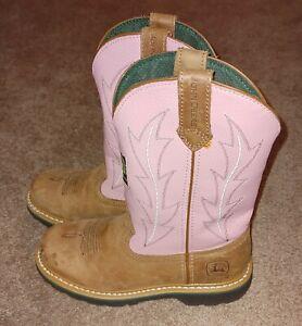 JOHN DEERE Women's 7M Boot Pink With Tan - Free Shipping