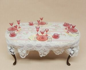 Vintage Artisan Dressed Dining Table W Pink Goblets Dollhouse Miniature 1:12