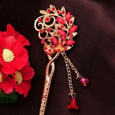Red Rhinestone & Crystal Peacock Shape Chains Hairpin