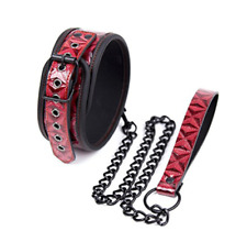 Adult Bondage Leather Dog Collar with Lead Restraints Sex Set Red & Black