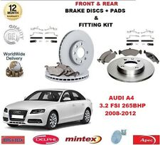 FOR AUDI A4 3.2 FSI 265 BHP 2008-2012 FRONT REAR BRAKE DISCS PADS + FITTING KIT