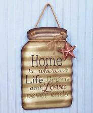 Hanging Metal HOME LOVE Mason Jar Wall Sign Rustic Country Kitchen Home Decor
