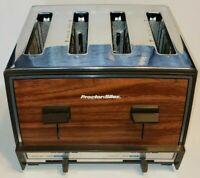 Vintage Proctor Silex T009B 4-Slice Toaster Wood Grain Stainless Steel Chrome