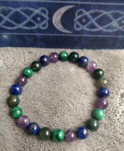 Immune system booster crystal healing bead bracelet lapis lazuli malachite