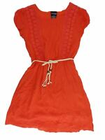 Paper Doll Girls' Cap Sleeve Crochet Detail Dress - Dark Coral - Select a size