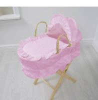 Girls Kids Broderie Anglaise Doll's Moses Basket Pink Pretend Play