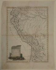 PERU & ECUADOR 1785 ANTONIO ZATTA ANTIQUE ORIGINAL COPPER ENGRAVED MAP