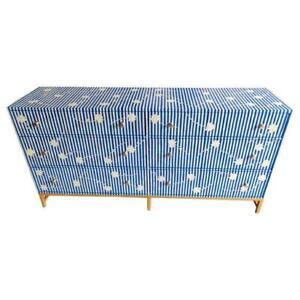 Bone inlay chest of 2 drawer 4 door sideboard flower pattern blue
