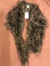GINA BACCONI designer Grey Silver Stole Faux Fur Scarf New RRP £100