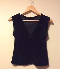 Womens Vintage River Island Crop Top Black Velvet Size 14 Evening Smart