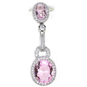 39x12mm Stunning Pink Kunzite White CZ Wedding Woman's 925 Silver Pendant