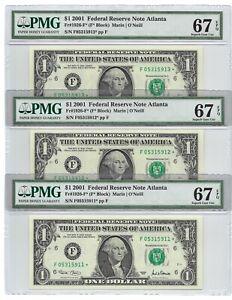 2001 $1 ATLANTA *STAR* 🌟 FRNs 3 CONSECUTIVE PMG SUPERB GEM UNCIRCULATED 67 EPQ