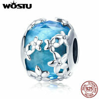 Wostu Blue Charm Bead S925 Sterling Silver Glass Pendant Fit Bracelet Necklace