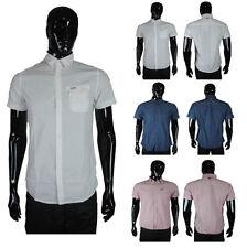 Men's Short Sleeve No Pattern Business-Regular Collar Formal Shirts