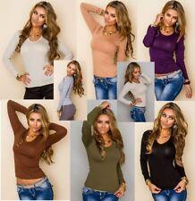 Markenlose S Damenblusen, - tops & -shirts mit Rundhals-Ausschnitt