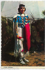 Indian woman Native American girl traditional clothes Vintage postcard teepee R
