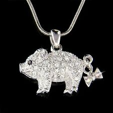 w Swarovski crystal Pig Piggy Piglet Lover Charm Pendant Chain Necklace New Cute