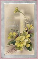 "Ca.1908 ""My Easter Greeting"" w/ Flowers & a Cross Easter Holiday Postcard - 1144"