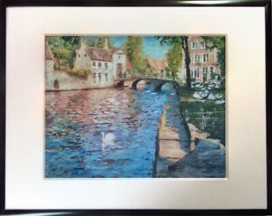 Fine Art Giclee Print Belgium Bruges Cityscape Landscape Swans Signed Framed