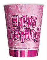 16 x PINK GLITZ PRISMATIC PAPER CUPS BIRTHDAY PARTY TABLEWARE GIRLS CELEBRATION