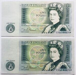 1982 BRITISH BANKNOTES *ENGLAND 2X1 POUND CONSECUTIVE NUMBERS ELIZABETH II UK/GB